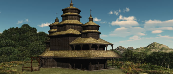 Medieval Ukraine Church 3D
