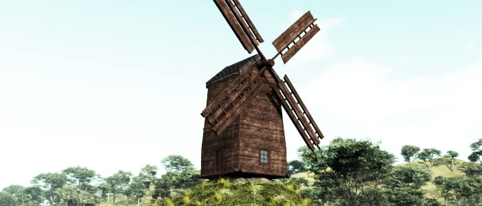 Medieval Ukraine Windmill 3D