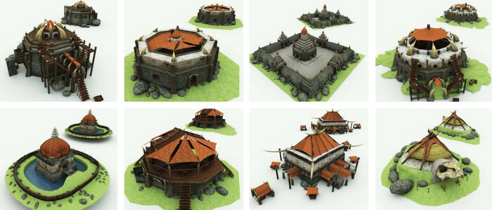 Orc Village Volume 1 3D Model Set